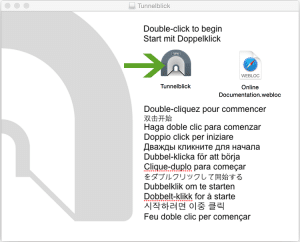 Tutorial for the installation of TunnelBlick on Mac OS